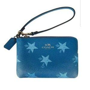 NEW Coach wristlet Canyon Star Blue NWT corner zip